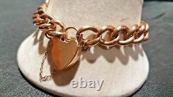 Beautiful Vintage 9ct Rose Gold Plain Curb Link Charm Bracelet & Padlock 15.7g