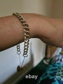 Beautiful Vintage English H/M Ladies 9ct gold doulble link charm bracelet
