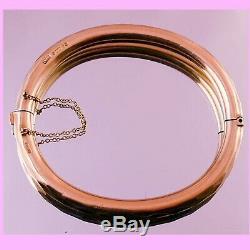C1920s Antique ENGLISH ETCHED 9k 9ct SOLID ROSE GOLD VICTORIAN Bangle Bracelet