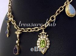 CB128- Vintage style 9ct SOLID Gold CHARM Bracelet colorful NATURAL GEMS