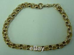 Chunky Solid 9ct Gold Patterned Belcher Linked Bracelet 9.25 Inches