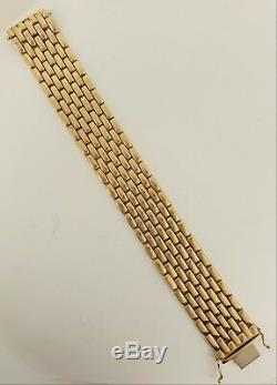 Clearance Bargain Designer 9ct Gold Watch Style Wide Bracelet 37.8 grams. NICE1