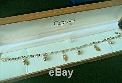 Clogau Welsh 9ct Yellow & Rose Gold Charm Bracelet + Box ACORN & OAK LEAVES