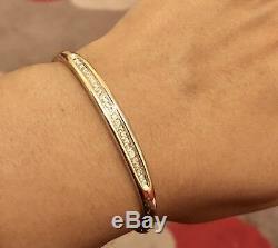 Designer Solid 9ct Yellow Gold Diamond Bangle Bracelet 0.50ct Diamonds