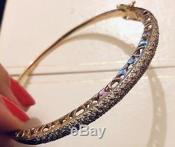 Designer Solid 9ct Yellow Gold Diamond Bangle Bracelet 0.50ct Paved Diamonds