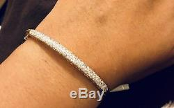 Designer Solid 9ct Yellow Gold Diamond Bangle Bracelet 0.50ct Paved Diamonds