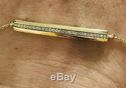 Designer Solid 9ct Yellow Gold Diamond Bar Bracelet 0.12ct Channel Set Diamonds
