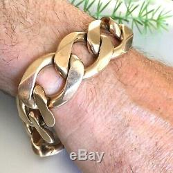 EXTREME HEAVY 9ct SOLID ROSE GOLD MEN'S CURB CHAIN BRACELET 163.8g 9 inches