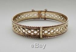 Early Clogau Welsh 9ct Gold Celtic Style Bangle / Bracelet Yellow & Rose Gold