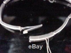 Edwardian 9ct White Gold / Silver Fine Blue And White Zircon Bracelet