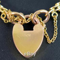 Edwardian Antique 9 Ct Gold Gate Bracelet C. 1910 16 Grams