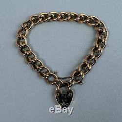 Edwardian Antique 9 Ct Rose Gold Gate Bracelet Birmingham 1903 16 Grams