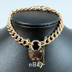 Edwardian Antique 9 Ct Rose Gold Solid Kerb Link Gate Bracelet 26.3 Grams