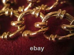Edwardian fancy-curb link heart padlock ACC 9ct hollow rose Gold Bracelet 17.4g