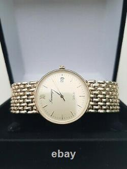 Excellent 9ct gold Sovereign mens quartz watch with 9ct gold bracelet and box