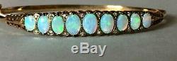Exquisite Vintage / Antique 9ct Gold Bracelet / Bangle. Natural Opals & Diamonds