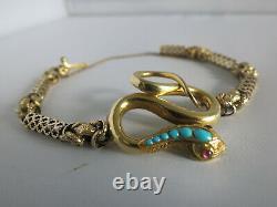 Extremely Rare 19th Century 9ct Gold Snake Bracelet