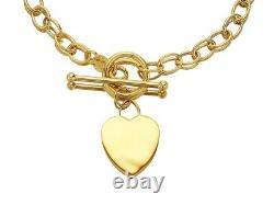 F. Hinds 9ct Gold Heart Charm T-Bar Belcher Bracelet 7.5in Bangle Jewelry Women