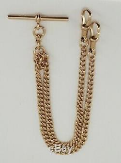 Fabulous 9ct Rose Gold Victorian Edwardian Double Albert watch Chain Bracelet