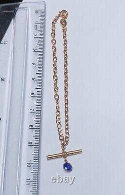 Fabulous 9ct Yellow Gold Belcher Sparkly Amethyst T. Bar Bracelet 7