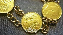 Fabulous Antique Estate 22ct/k & 9 Ct/k Yellow Gold Half Sovereign Bracelet 1906