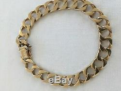 Fabulous Gents Signed Unoaerre Heavy Vintage 9ct Gold Curb Link Bracelet Italy