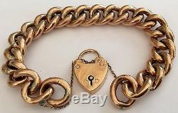 Fabulous Ladies Antique Victorian Rose 9Ct Gold Bracelet & Padlock 24.7 Grams