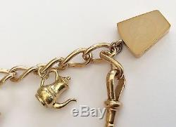 Fabulous Pristine Very Heavy Antique 9ct Rose Gold Charm Bracelet & Charms 36g