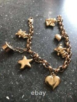Fabulous Sheffield Heavy Solid 9Ct Gold Belcher Charm Bracelet With Charms 7.5in