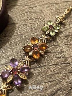 Fantastic 9ct Gold Citrine, Amethyst, Peridot, Garnet And Diamond Bracelet. Wow