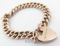 Fine Antique 9ct Rose Gold Curb link Bracelet With Heart Shaped Padlock C. 1905