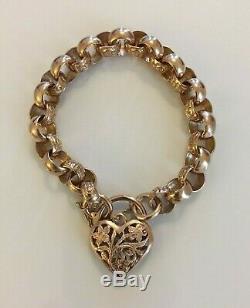 Fine Antique Victorian 9ct Gold Scroll Chain Bracelet + Ornate Love Heart Clasp