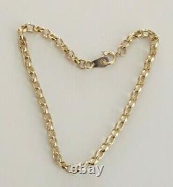 Fine Quality 7 Vintage Solid 9ct Yellow Gold Fancy Belcher Link Bracelet Chain