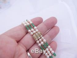 Fine emerald cultured pearl diamond 9ct gold clasp 3 strand bracelet