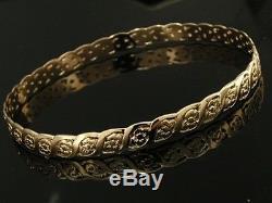 G08- DESIGNER Genuine 9ct SOLID Rose GOLD Filigree BLOSSOM Bangle 64cm
