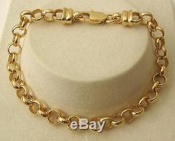 GENUINE 9K 9ct SOLID GOLD BELCHER BRACELET with PARROT CLASP 19, 21, 23 cm