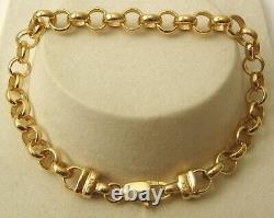GENUINE 9ct 9K SOLID Yellow Gold ROUND BELCHER BRACELET PARROT CLASP 21 cm