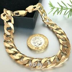 GENUINE 9ct SOLID GOLD MEN'S CURB BRACELET HEAVY 9 3/4 43.1g