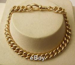 GENUINE 9ct SOLID YELLOW GOLD ALBERT CURB BRACELET with SWIVEL CLASP 19, 21cm