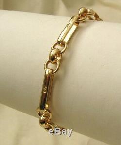 GENUINE SOLID 9K 9ct YELLOW GOLD BELCHER ALBERT BRACELET with SWIVEL CLASP