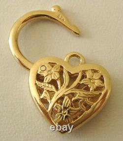 GENUINE SOLID 9K 9ct YELLOW GOLD FILIGREE HEART PADLOCK CLASP