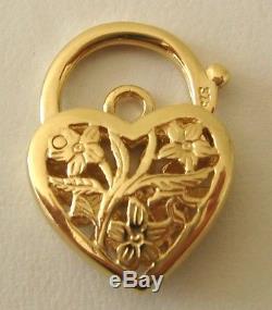 GENUINE SOLID 9K 9ct YELLOW GOLD FILIGREE PADLOCK CLASP
