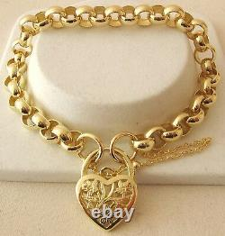 GENUINE SOLID 9K 9ct Yellow Gold ROUND BELCHER Padlock Bracelet