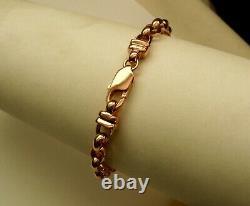 GENUINE SOLID 9ct ROSE Gold OVAL BELCHER BRACELET PARROT CLASP 19.5 cm
