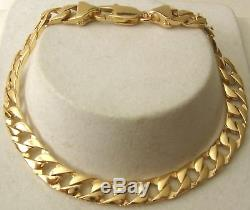 GENUINE SOLID 9ct YELLOW Gold UNISEX FLAT CURB BRACELET PARROT CLASP 19,21,23cm