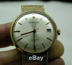 Gents 1960's Solid 9ct Gold Centuar Date Bracelet Watch