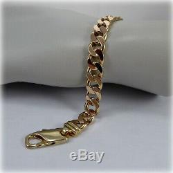 Gents 9ct Gold Flat Curb Link 8.5 Bracelet