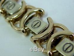 Gents Solid 9ct Yellow And White Gold Fancy Linked Bracelet-9 Inches-1 Ounce