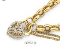 Genuine 9ct Gold Belcher Bracelet Diamond Heart Locket 10 grams Not Scrap $1500