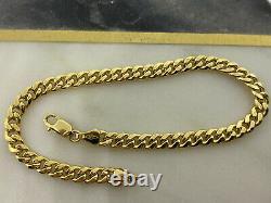 Genuine 9ct Yellow Gold 5mm Cuban Bracelet 7.5 inch NEW